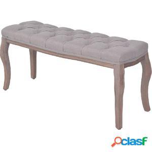 Banco de madera maciza y lino gris claro 110x38x48 cm