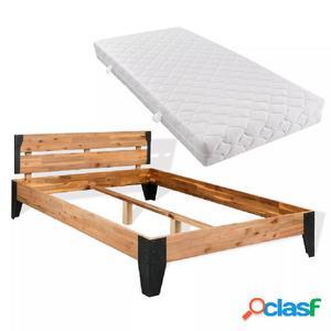 Cama con colchón de madera maciza de acacia y acero 180x200