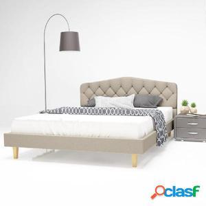 Cama con colchón viscoelástico 140x200 cm tela beige