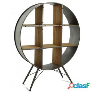 Estantería de estilo retro industrial en madera de abeto y