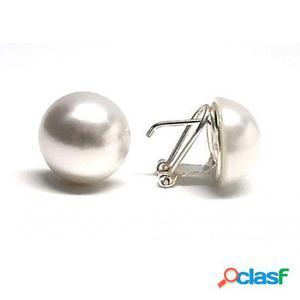 Pendientes media perla 16 mm. con cierre omega de plata de