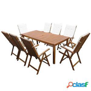 Set de comedor de jardín de madera maciza de acacia 17