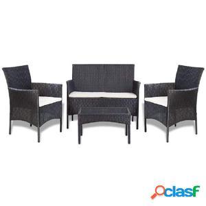 Set sofás de jardín ratán sintético negro blanco crema 7