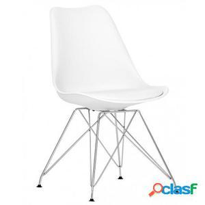 Silla estilo Eiffel color blanco con asiento tapizado en