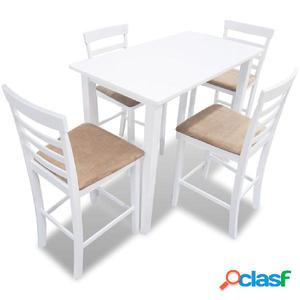 Mesa de bar y 4 taburetes de barra madera blanca