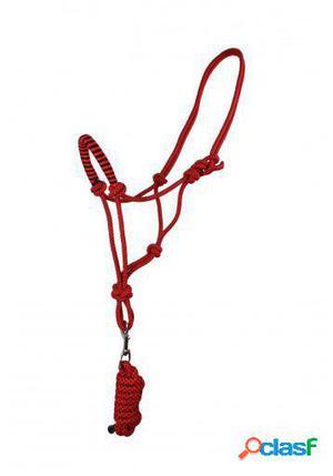 QHP Cabezada de Cuerda con ramal fiery pony rojo