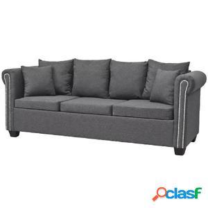 Sofá de 3 plazas de tela gris oscuro 200x75x73 cm