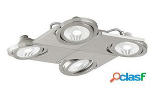 Wellindal Foco Aplique Plafon Led 4 luz níquel mate Brea