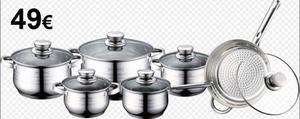Batería de Cocina 12 piezas Hecho de acero inoxidable