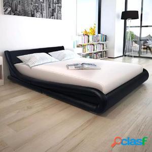 Cama con colchón viscoelástico cuero artificial 160x200cm