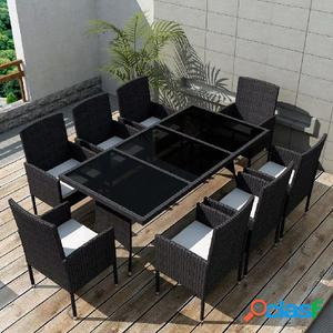 Conjunto de comedor de exterior 17 piezas poli ratán negro