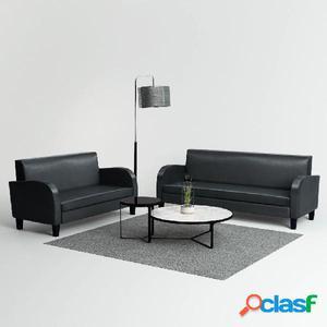 Conjunto de sofás de 2 piezas de cuero artificial negro