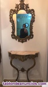 Consola y espejo de bronce y marmol