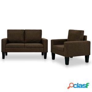 Juego de sofás de tela de 2 piezas marrón