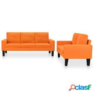Juego de sofás de tela de 2 piezas naranja