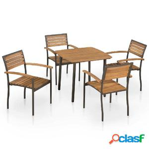 Juego muebles de jardín madera maciza de acacia y acero 5