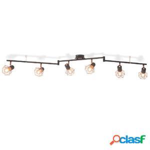 Lámpara de techo con 6 focos E14 negra y cobre
