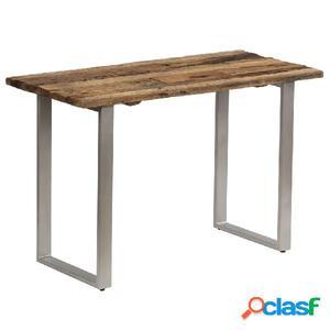 Mesa consola traviesas madera y acero 118x55x76 cm