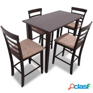 Mesa de bar y 4 taburetes de barra madera marrón