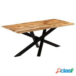 Mesa de comedor madera maciza de mango rugosa 180x90x77 cm
