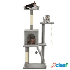 Rascador para gatos con poste de sisal 120 cm gris