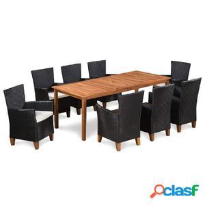 Set de muebles de jardín 9 piezas ratán sintético acacia