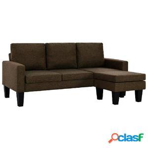 Sofá de 3 plazas con otomana de tela marrón