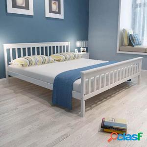Cama con colchón de madera de pino maciza 180x200 cm blanca