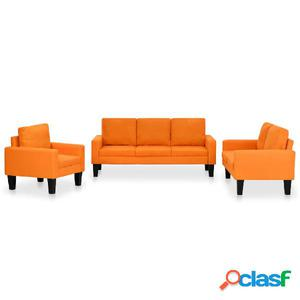 Juego de sofás de tela de 3 piezas naranja