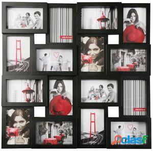 Wellindal portafotos 16 ventanas negro 59,3x3x59,3