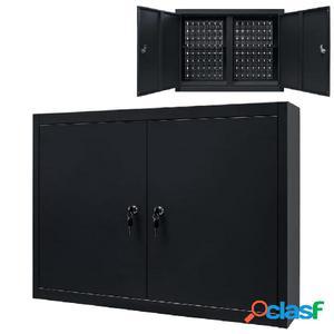 Armario de herramientas de pared de metal 80x19x60 cm negro