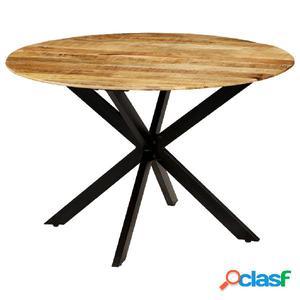 Mesa de comedor madera maciza de mango rugosa y acero 120x77