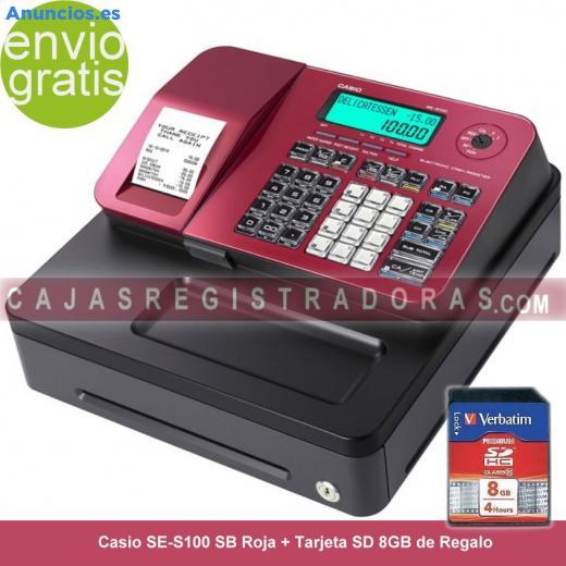 Caja Registradora Casio SE-S100 SB Roja + Tarjeta SD 8G