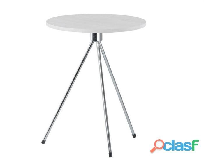 Mesa auxiliar Triplicate redonda, madera, color blanco