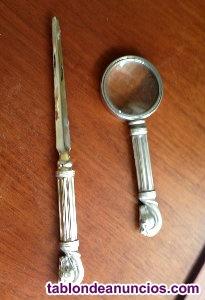 Lupa y abrecartas de plata