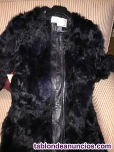 Abrigo de piel de cabra y cuero de mujer