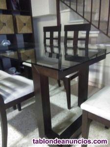 Mesa,de cristal y 6 sillas