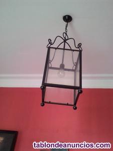 Vendo lámpara de techo antigua de bronce y farol grande de