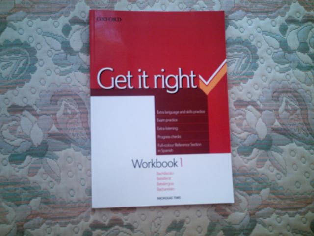 VENDO GET IT RIGHT 1 WORKBOOK BOOK, DE 1º DE BACHILLERATO.