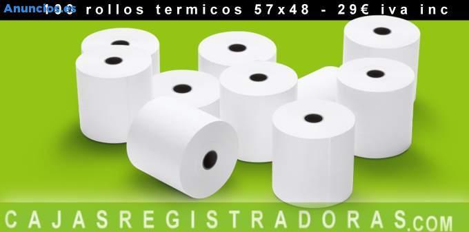 100 Rollos TéRmicos 57x48 TPV Y Registradora 29€ Iva In