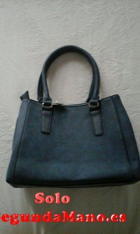 Bolso azul de señora en polipiel