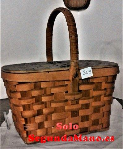 Cesta de artesania fabricada con fibra de Castaño (303a)