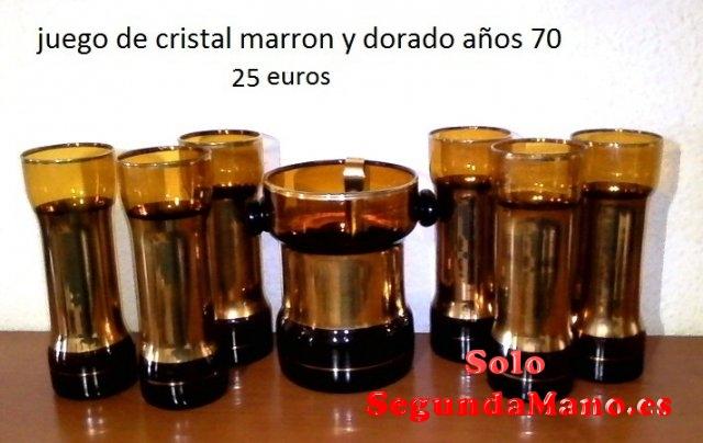 JUEGO DE CRISTAL MARRON Y DORADO AÑOS 70