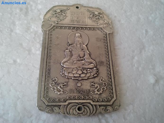 Lingote De Plata Tibetana Con Figura Budista Esculpida
