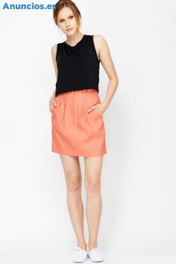 Mini Falda De AlgodóN De Color Coral Cotton Mini Skirt