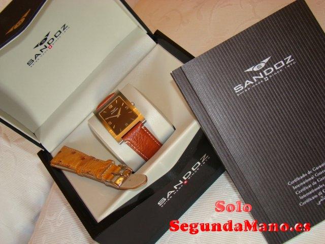 Nuevo y original Reloj Sandoz acero,correa piel