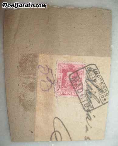 Sello en carton de alfonso xiii 5 centimos