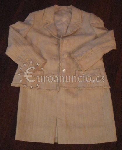 Traje chaqueta de entretiempo color blanco roto