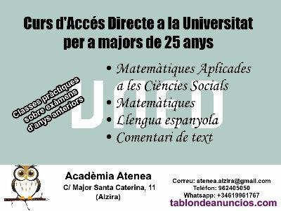 Curso de acceso a la universidad para mayores de  años