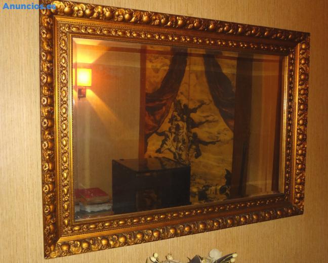 Espejo Vintage Con Marco Madera Dorado